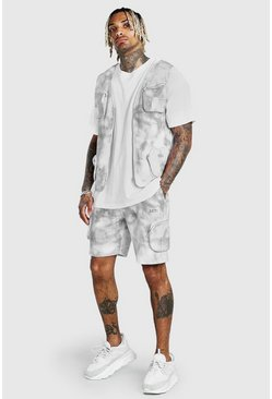 Grey Man Tie Dye Utility Vest & Short Set