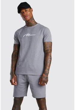 Ensemble short et t-shirt à rayures signature MAN, Gris