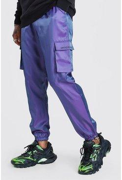 Purple MAN Iridescent Shell Cargo Jogger With Cuff