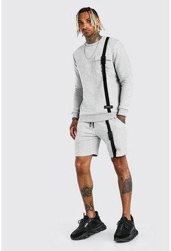 Grey marl 3D Pocket Sweater Strap Detail Short Tracksuit