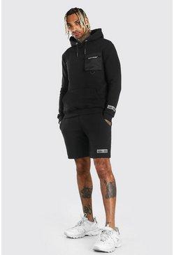 Black MAN Nylon Cargo Hooded Short Tracksuit With Strap
