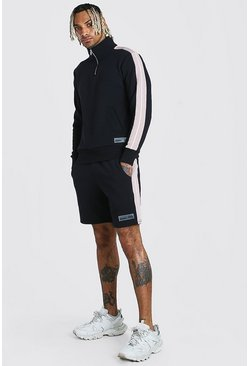 Black Half Zip Tape Short Tracksuit With Rubber Tab