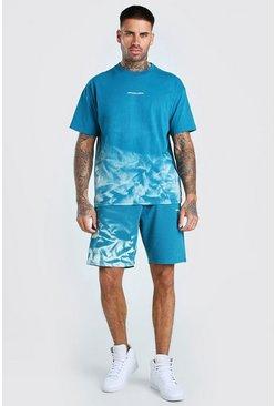 Teal Official MAN Bleached T-Shirt & Short Set