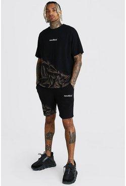 Black Official MAN Bleached T-Shirt & Short Set