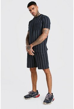 Dark grey MAN Signature Stripe T-Shirt & Short Set