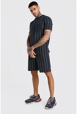 Dark grey MAN Signature Stripe T-Shirt & Short Set