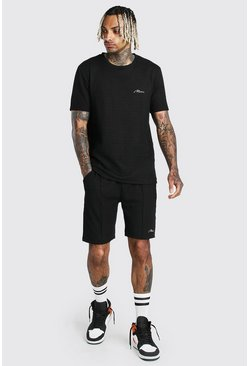 Black Jacquard T-Shirt & Pintuck Short With MAN Tab