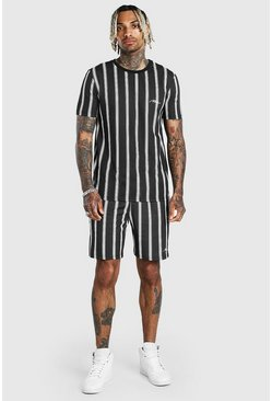 Black MAN Signature Stripe T-Shirt & Short Set