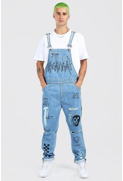 Mid blue Slim Long Dungarees With Graffiti Print