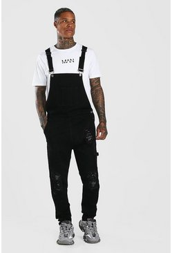 Black Skinny Stretch Long Denim Dungarees With Bandana