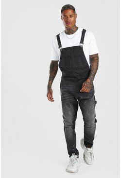 Washed black Skinny Long Denim Overalls Paint Splatter