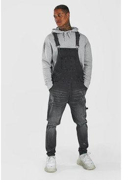 Charcoal  Skinny Long Denim Dungarees With Paint Splat