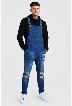 Vintage blue Skinny Long Denim Dungarees With Bandana