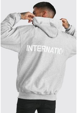 Grey Oversized International Reflective Print Hoodie