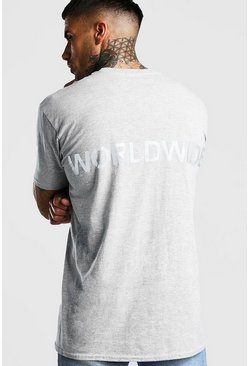 Grey Oversized Worldwide Reflective Print T-Shirt