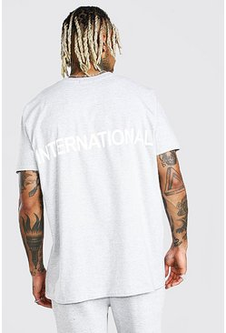 "Oversized-T-Shirt mit reflektierendem ""International""-Print, Grau"