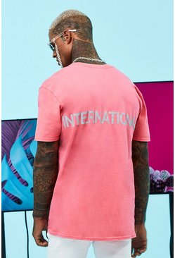 Coral Oversized International Reflective T-Shirt