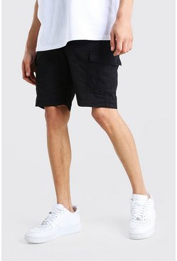 Black Fixed Waist Cargo Short