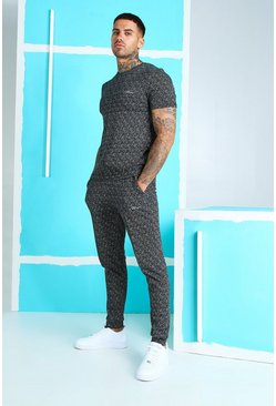 Black MAN Signature Jacquard T-Shirt & Jogger Set