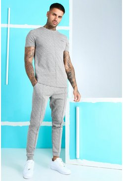 Ensemble t-shirt et jogging jacquard signature MAN, Gris clair