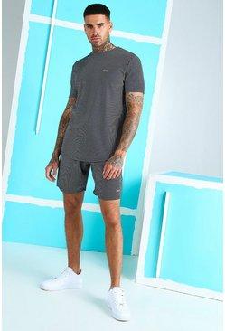 Navy Stripe Jacquard Stripe T-Shirt & Short With MAN Tab