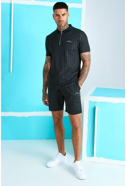 Dark grey MAN Signature Zip Polo & Short Set With Rib
