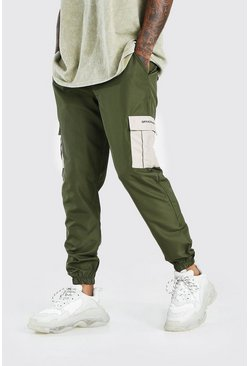 Khaki Official MAN Large Cargo Pocket Shell Jogger