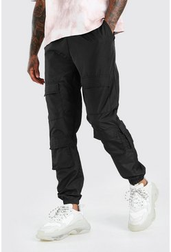 Black Shell Multi Pocket Jogger With Adjustable Drawcords