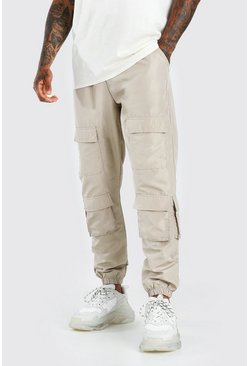 Stone Shell Multi Pocket Jogger With Adjustable Drawcords