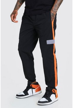Official MAN Colorblock-Jogginghose, Schwarz