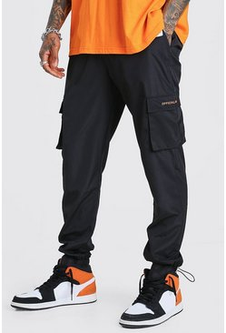Black Official MAN Shell Cargo Joggers With Bungee Cuff