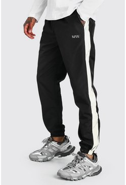 Black Original MAN Shell Jogger With Reflective Panels