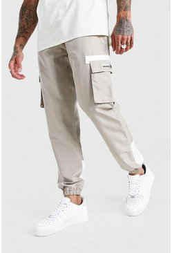 Stone Shell Cargo Contrast Joggers With Rubber Badge