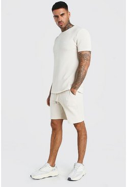 Ensemble t-shirt jacquard et short à rayures fines signature MAN, Roche