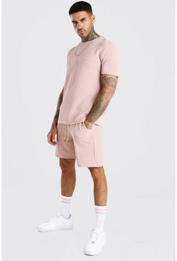Pink MAN Signature Jacquard T-Shirt & Pintuck Short Set