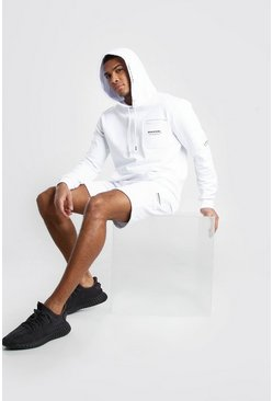 White MAN Official Cargo Hooded Short Tracksuit