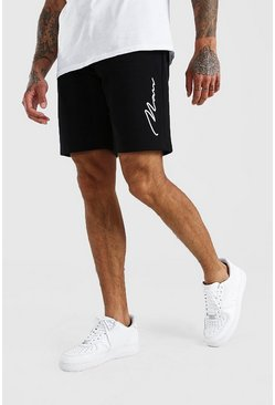 Black 3D MAN Signature Embroidered Short