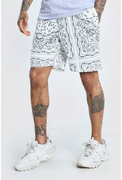 White Bandana Printed Relaxed Fit Short
