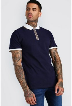 Navy Short Sleeve Pique Zip Polo With Tipping