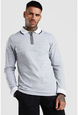 Grey Long Sleeve Pique Zip Polo With Tipping
