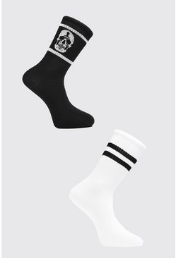 Black 2 Pack Skull Sock