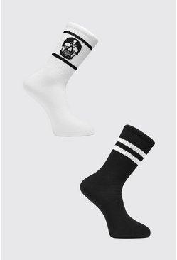 White 2 Pack Skull Sock