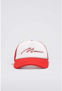 Red MAN Script Colour Block Trucker Cap