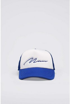 Blue MAN Script Colour Block Trucker Cap