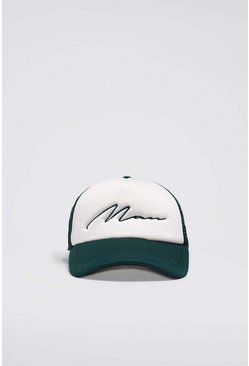 Green MAN Script Colour Block Trucker Cap