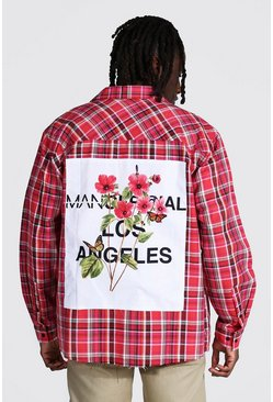 Pink Oversized Check Shirt With Box Back Print