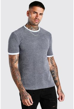 Pale blue Regular Fit Geo Knitted T-Shirt