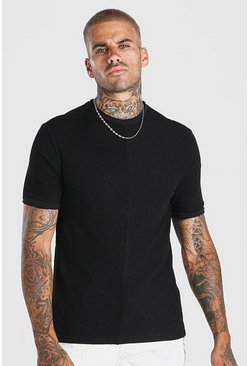 Black Textured Knitted T-Shirt With Faux Layer