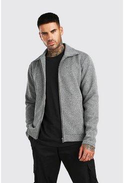 Grey marl Zip Through Textured Knitted Harrington Jacket
