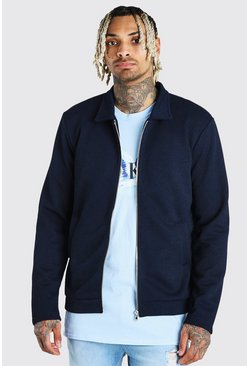 Navy Zip Through Textured Knitted Harrington Jacket